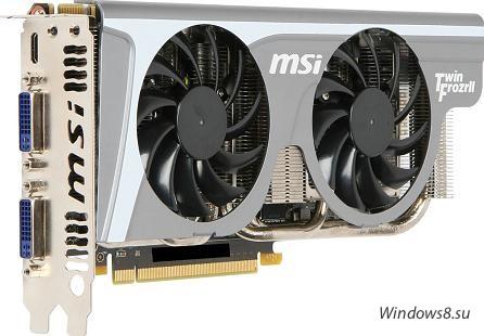 MSI GeForce GTX 560 Ti Twin Frozr II вид спереди