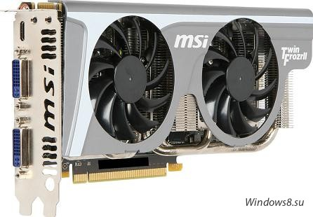 MSI GeForce GTX 560 Ti Twin Frozr II вид спереди